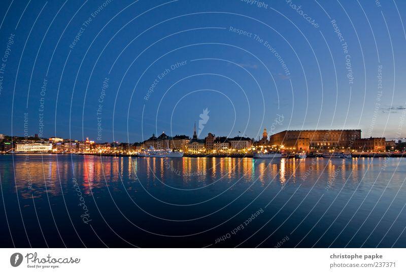 kungliga slottet Stockholm Sweden Town Capital city Skyline Tourist Attraction Landmark Harbour Vacation & Travel Exterior shot Deserted Copy Space top Evening