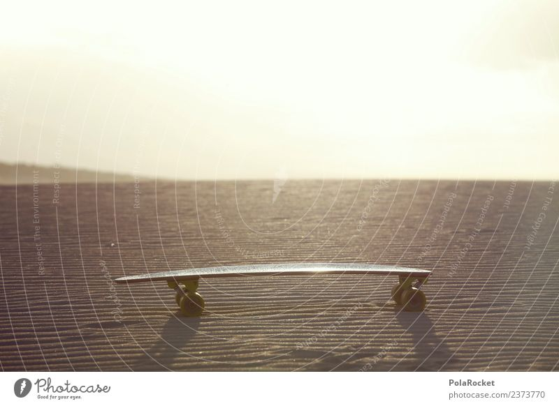 #AS# lonely board Work of art Esthetic Longboard Skateboard Skateboarding Inline skating Skate store Desert Loneliness Extreme sports Sand Fuerteventura