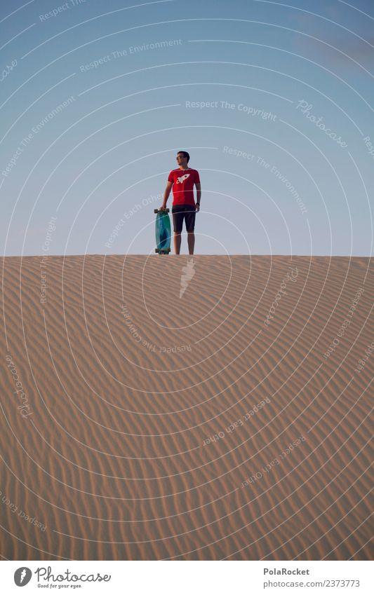 #AS# Freedom Art Work of art Esthetic Longboard Skateboard Skateboarding Sports Athletic Exterior shot Desert Sand Dune Stand Cool (slang) Red Extreme sports