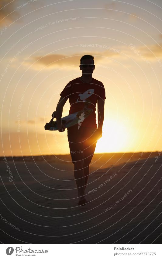 #AS# Walk in the... # Art Work of art Esthetic Idyll Longboard Skateboard Inline skating Skateboarding Extreme sports Relaxation Youth culture Hipster Desert