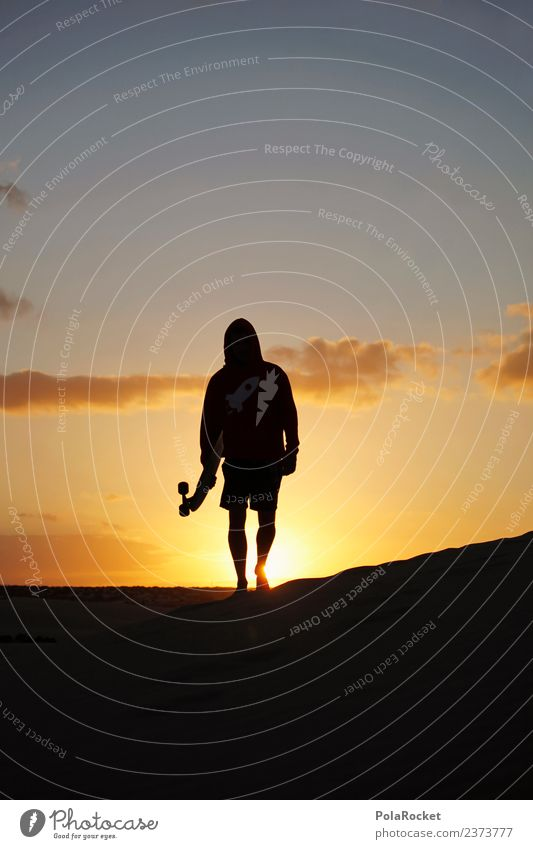 #AS# home we go Art Esthetic Young man Youth culture Walking Inline skating Longboard Vacation mood Fuerteventura Sunset Hooded sweater Colour photo