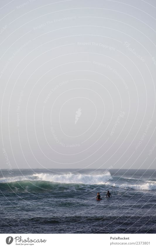 #A# Wet togetherness Art Work of art Esthetic Ocean Waves Swell Surfer Surfing Aquatics Vacation mood Colour photo Subdued colour Exterior shot Detail
