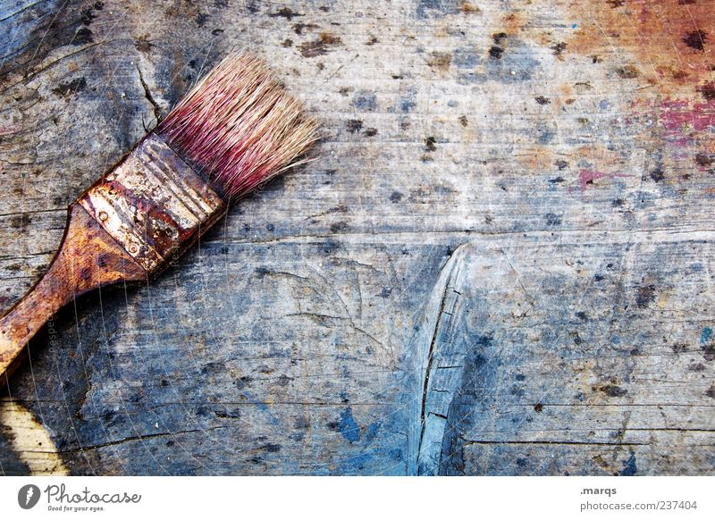 Old Colour Wood Dye Dirty Change Painting (action, work) Creativity Profession Paintbrush Painter Patch of colour Wood grain Board Bristles