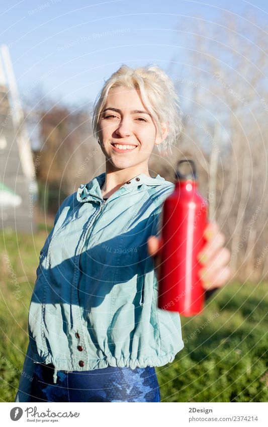 female runner standing outdoors holding water bottle Drinking Bottle Lifestyle Happy Beautiful Wellness Relaxation Summer Sports Jogging Human being Feminine