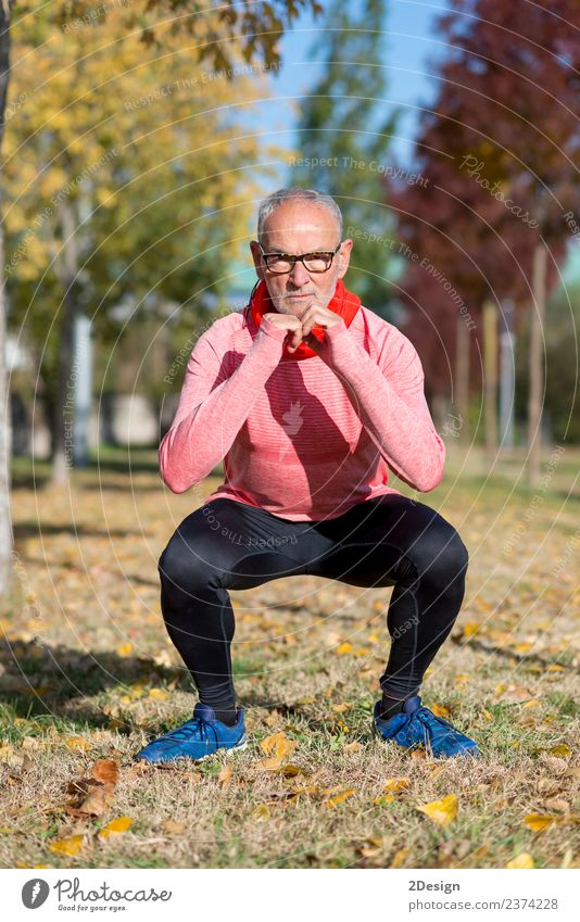 Senior Man Exercising In Park Human being Old Summer Landscape Adults Lifestyle Healthy Senior citizen Sports Laughter Feet Leisure and hobbies Body Footwear
