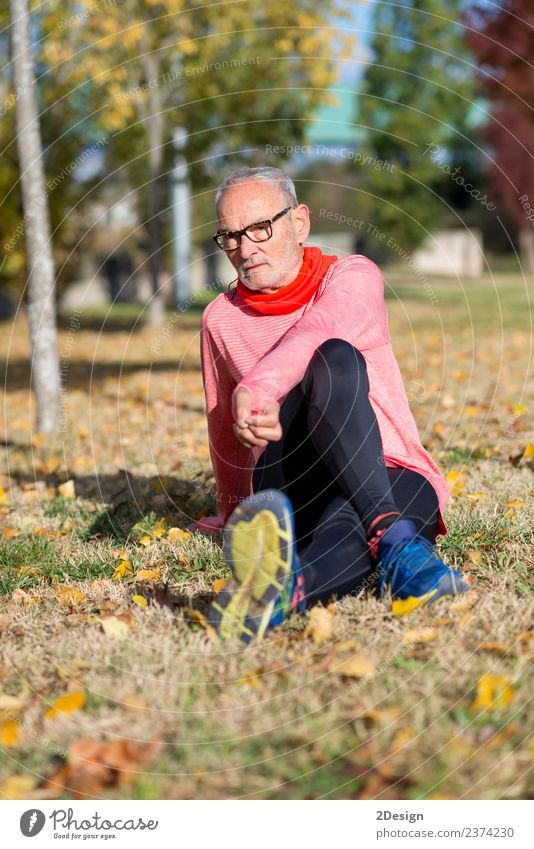 Senior Man Exercising In Park Human being Old Summer Landscape Adults Lifestyle Senior citizen Sports Laughter Feet Leisure and hobbies Masculine Body Footwear