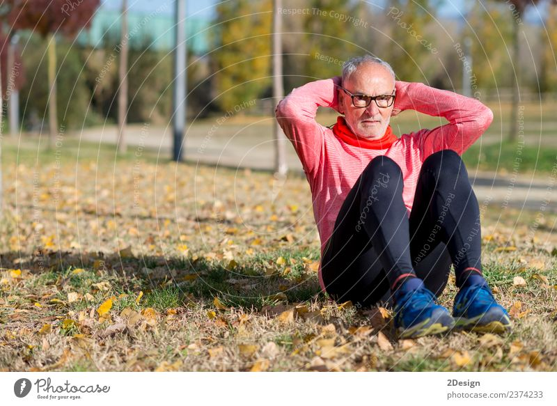 Senior Man Exercising In Park Diet Lifestyle Body Healthy Health care Leisure and hobbies Summer Sports Track and Field Sportsperson Jogging Human being