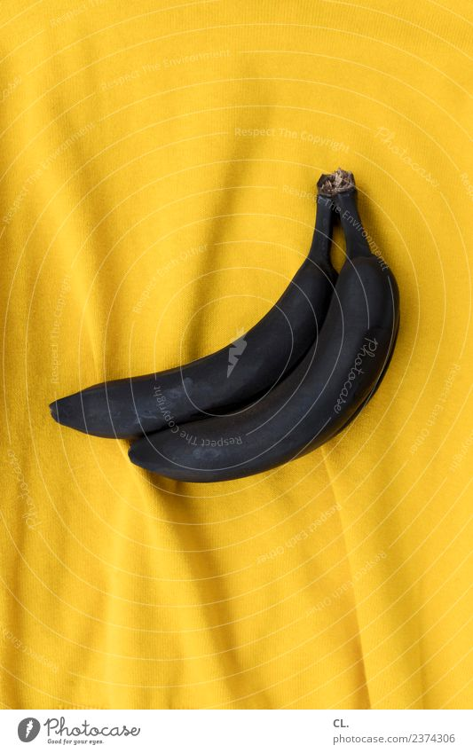 black bananas on yellow Food Fruit Banana Nutrition Art Cloth Sign Esthetic Exceptional Brown Yellow Black Design Uniqueness Colour Idea Inspiration Creativity