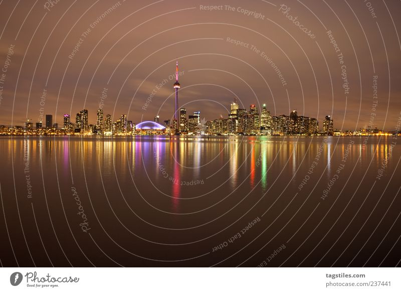 WIDE ANGLE Wide angle Toronto Town Night Twilight Ontario Canada Americas CN Tower Long exposure Reflection Surface of water Water reflection Night sky Light