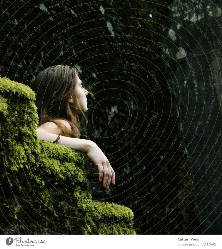 Human being Woman Youth (Young adults) Hand Calm Adults Relaxation Dark Feminine Wall (building) Wall (barrier) Wild Stairs Sit Young woman Hope