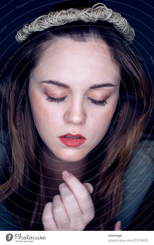 Portrait of beauty woman with closed eyes Nature Youth (Young adults) Young woman Beautiful Loneliness Calm Face Emotions Feminine Think Uniqueness Protection