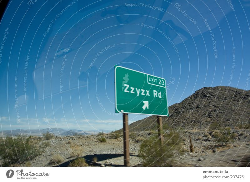 Zzyzx Road Mojave Desert Nature Landscape Summer Beautiful weather Bushes Deserted Road sign Whimsical Tourism zzyzx California mojave desert Colour photo
