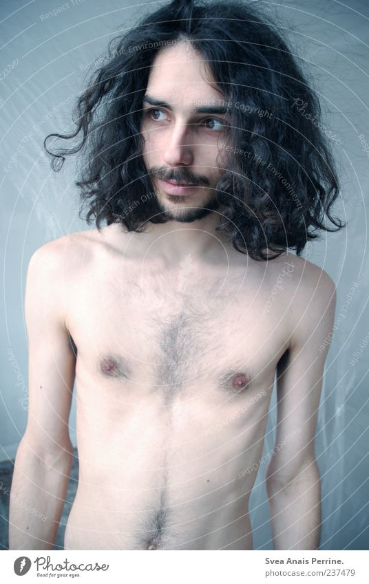 Human being Youth (Young adults) Adults Naked Skin Masculine 18 - 30 years Stand Young man Thin Chest Curl Facial hair Long-haired Black-haired Hairy chest