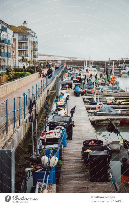 Port of Brighton, England Town Port City Harbour Esthetic Rain Dreary Watercraft Footbridge Navigation Colour photo Exterior shot Deserted Day