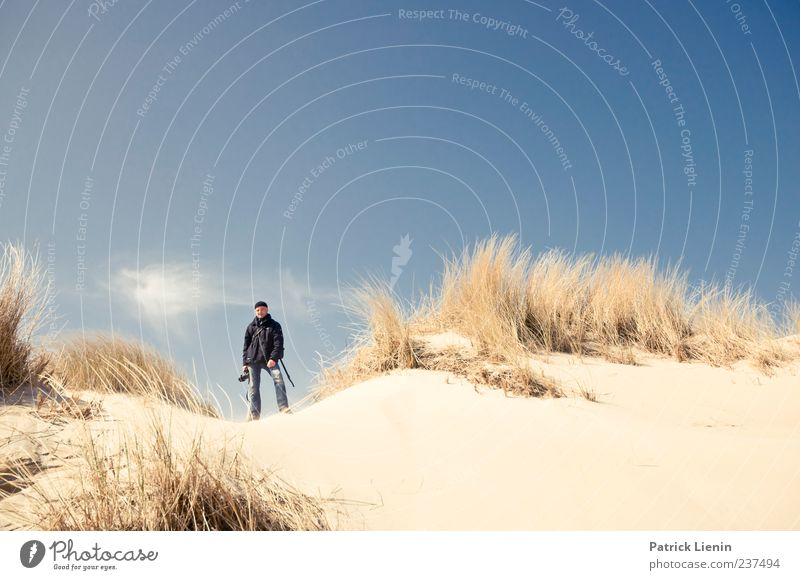 Human being Sky Man Nature Blue Plant Beach Adults Environment Landscape Coast Sand Leisure and hobbies Masculine Stand Uniqueness