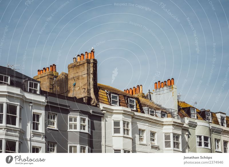 Above the roofs V Sky Brighton Great Britain Europe Small Town Port City House (Residential Structure) Building Architecture Facade Window Roof Chimney Esthetic