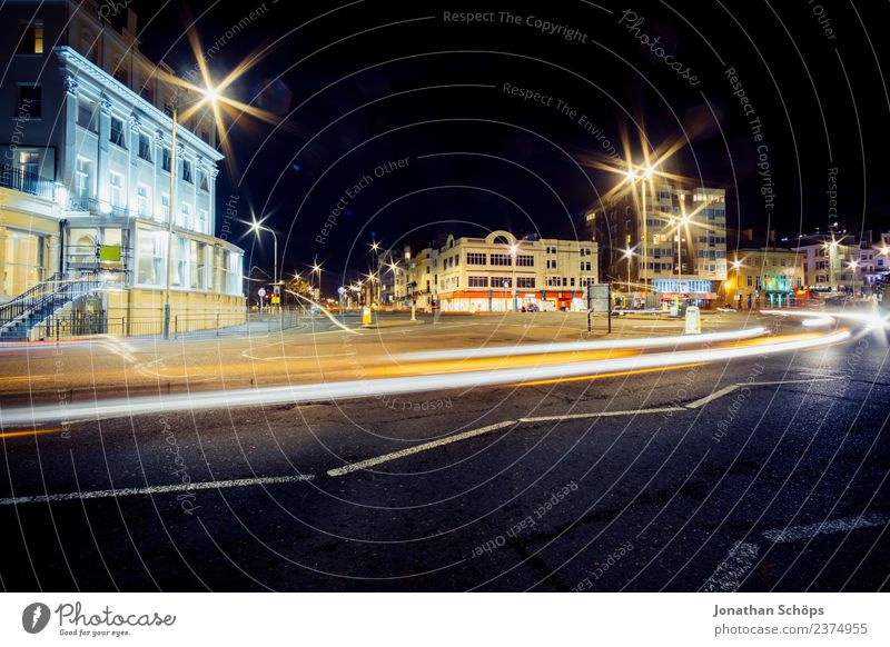illuminated intersection, night scene, Brighton, England Esthetic Background picture Dark Light Night mood Night shot Structures and shapes Colour photo