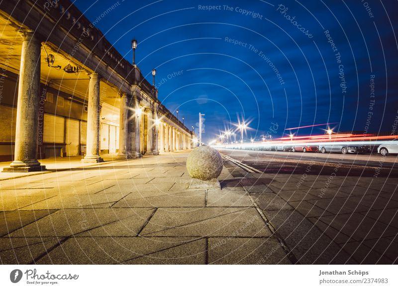 *** 1600 *** Brighton Beach Town Esthetic England Night Street Long exposure Column Bollard Transport Traffic infrastructure Twilight Sky Wide angle Rush hour