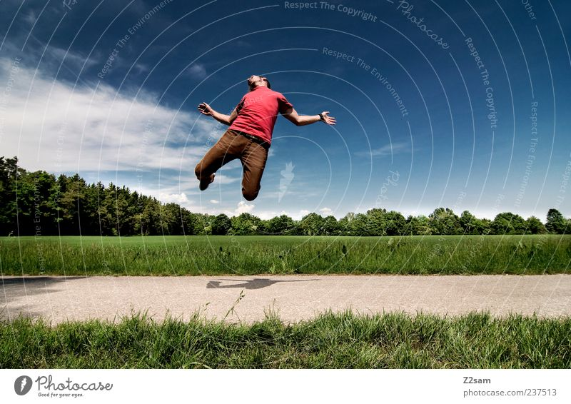 Human being Sky Nature Youth (Young adults) Blue Green Red Summer Adults Environment Landscape Movement Grass Lanes & trails Freedom Jump