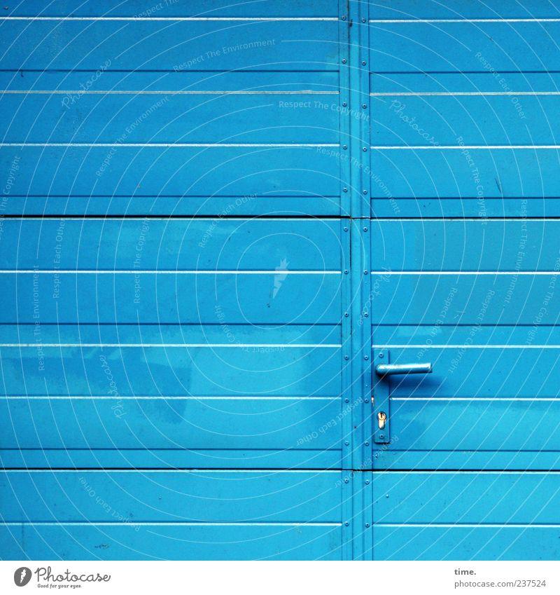 Blue Metal Door Closed Metalware Clean Simple Mysterious Gate Entrance Lock Parallel Warehouse Door handle Storage Horizontal
