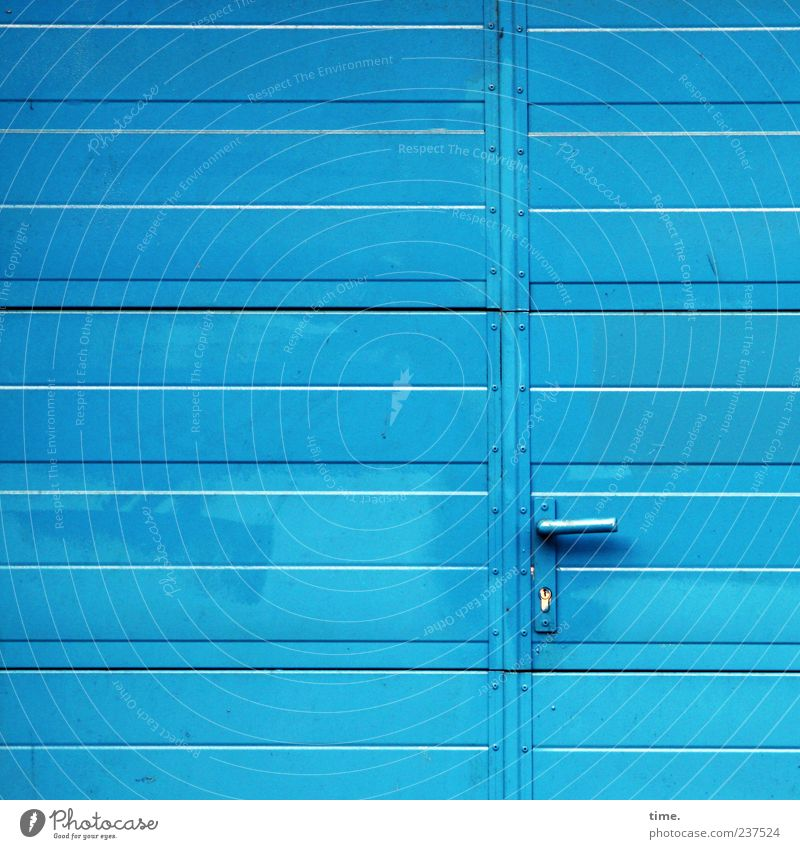 Blue Metal Door Closed Metalware Clean Simple Mysterious Gate Entrance Lock Parallel Warehouse Door handle Storage Horizontal