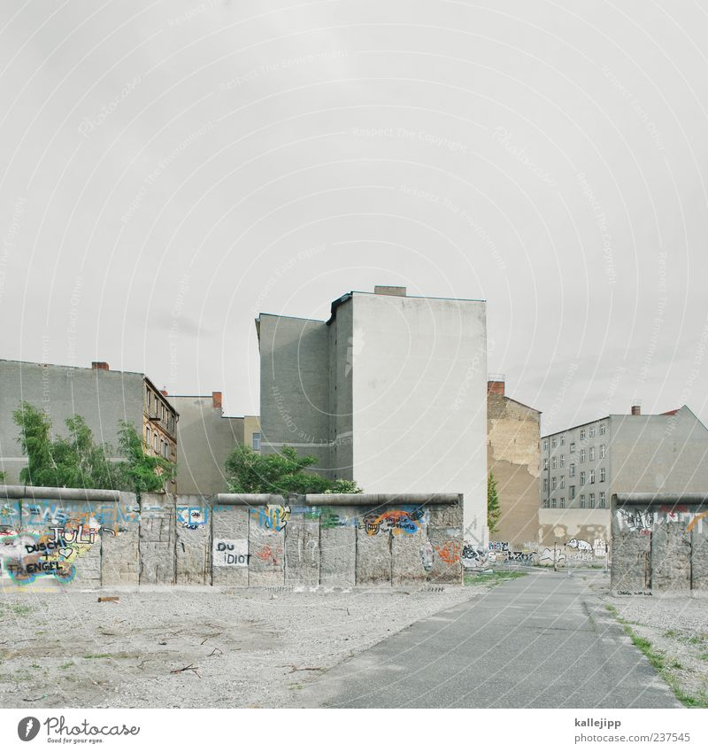 City House (Residential Structure) Wall (building) Graffiti Berlin Lanes & trails Freedom Gray Wall (barrier) Time Concrete Gloomy Asphalt Sign Past Monument