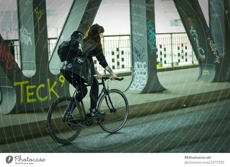 Carina | Young woman with racing bike on the road in Hamburg Lifestyle Leisure and hobbies Human being Youth (Young adults) Woman Adults 1 Subculture Town