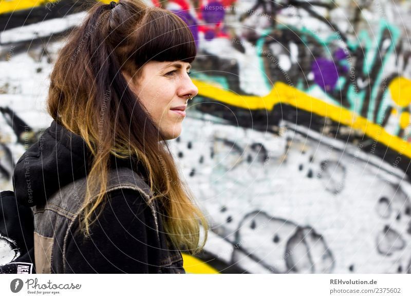 Carina | Portrait with Graffiti Lifestyle Style Leisure and hobbies Human being Feminine Young woman Youth (Young adults) Face 1 18 - 30 years Adults Town