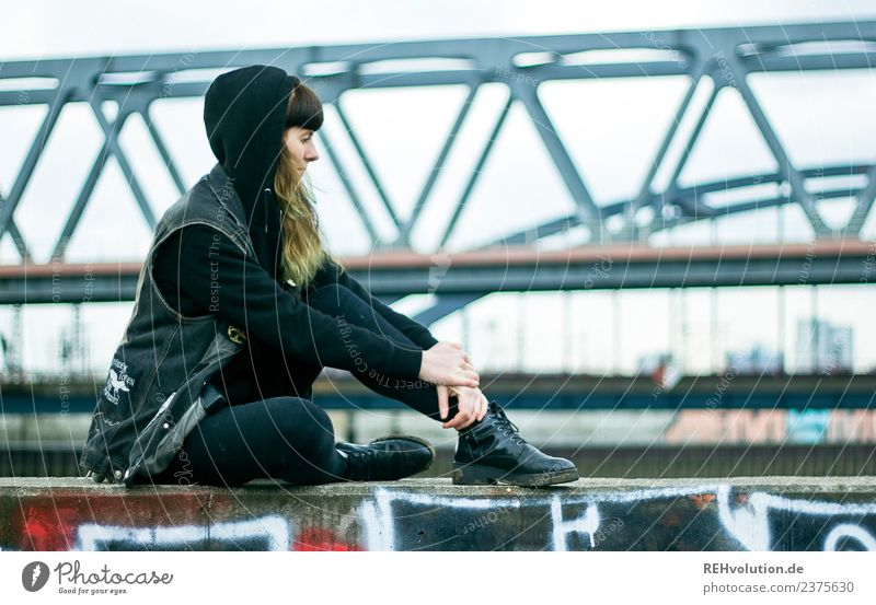 Woman Human being Youth (Young adults) Young woman Town Loneliness 18 - 30 years Adults Lifestyle Wall (building) Sadness Feminine Style Wall (barrier)