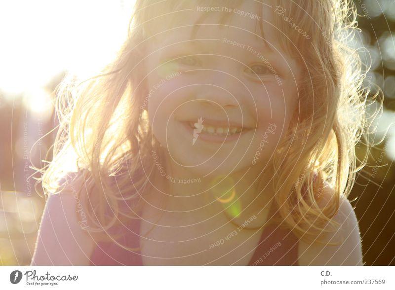 Human being Child Nature Sun Summer Girl Joy Face Warmth Head Happy Laughter Garden Blonde Infancy Free