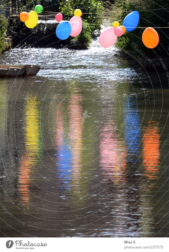 party Feasts & Celebrations Pond Lake Brook River Waterfall Multicoloured Balloon Colour photo Exterior shot Deserted Copy Space bottom Evening Reflection