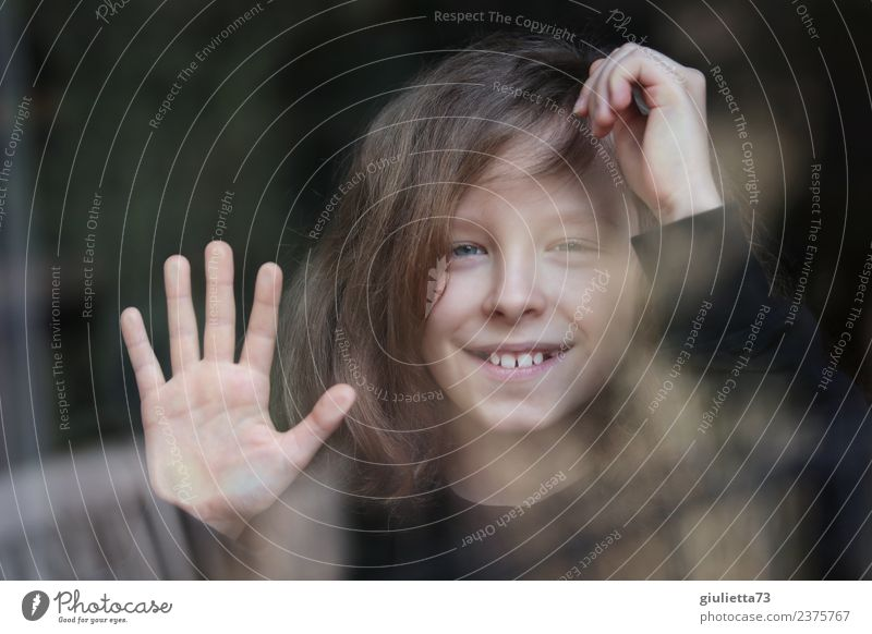 Hello! | Portrait of a smiling boy mirrored in a window Child Boy (child) Infancy 1 Human being 8 - 13 years Long-haired Glass Touch Smiling Laughter Looking