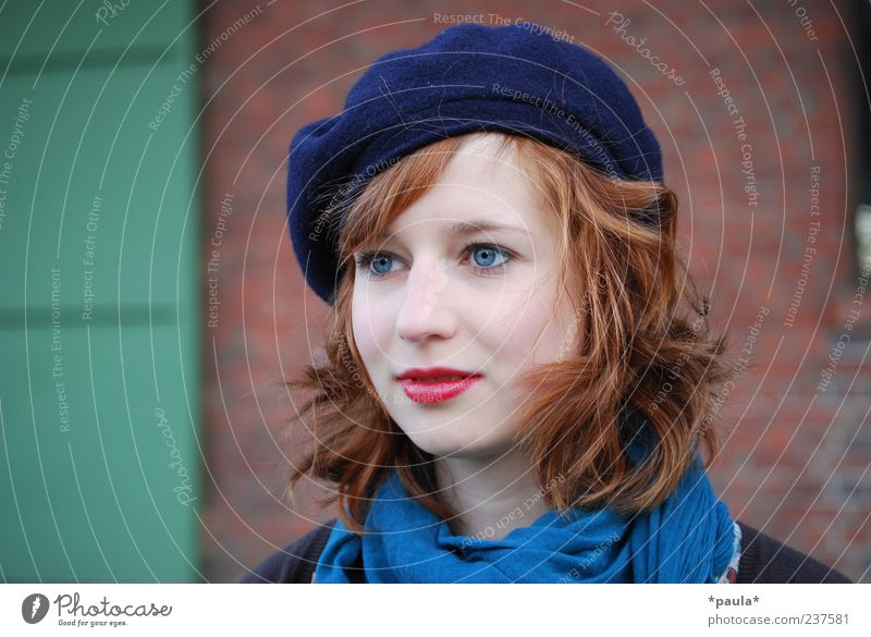 Something Style Lipstick Feminine Young woman Youth (Young adults) Head 18 - 30 years Adults Wall (barrier) Wall (building) Scarf Hat Red-haired Curl Observe