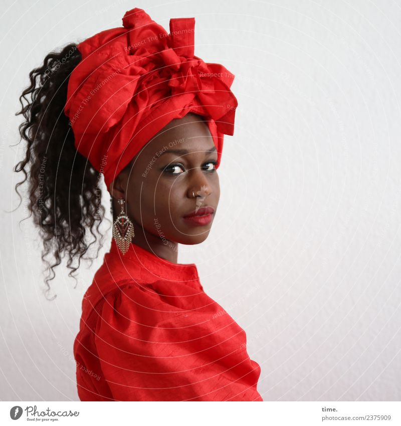 Apolline Feminine Woman Adults 1 Human being Dress Piercing Earring Headscarf Black-haired Long-haired Curl Observe Looking Wait Beautiful Red Self-confident