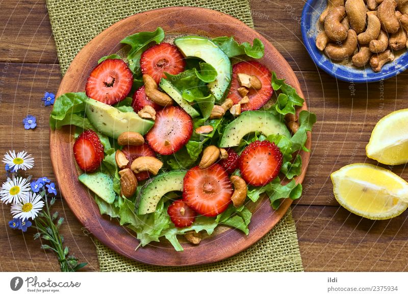 Strawberry, Avocado, Lettuce Salad Dish Healthy Fruit Nutrition Fresh Vegetable Berries Diet Meal Vegetarian diet Lemon Horizontal Raw Snack