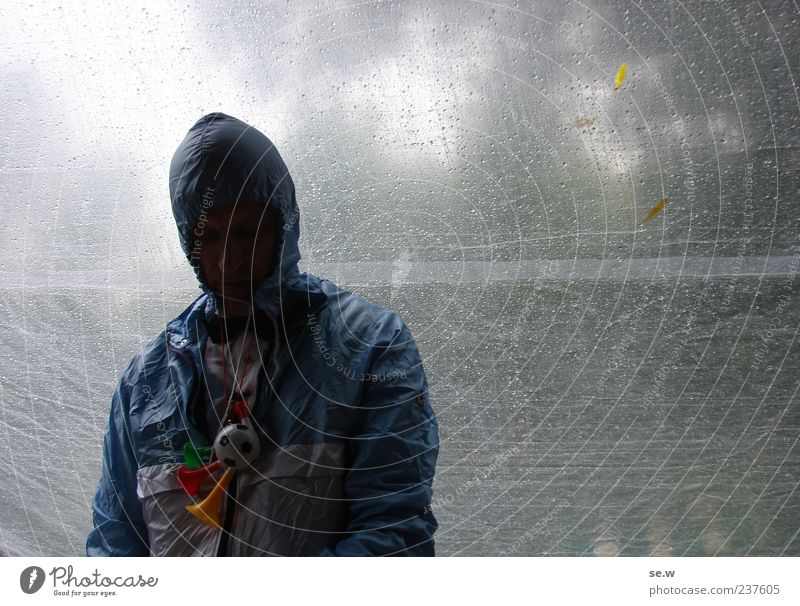 Human being Man Blue Summer Face Calm Loneliness Dark Gray Sadness Rain Feasts & Celebrations Wait Adults Masculine Drops of water