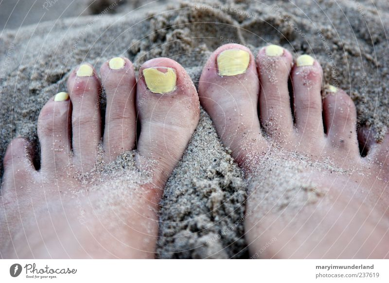 Summer Ocean Beach Relaxation Yellow Freedom Sand Feet Wait Esthetic To enjoy Summer vacation Well-being Barefoot Toes Nail