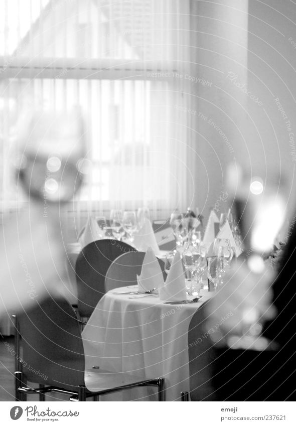 as a present Dinner Banquet Business lunch Crockery Glass Champagne glass 2 Human being Black & white photo Interior shot Blur Toast Noble Chic Set meal