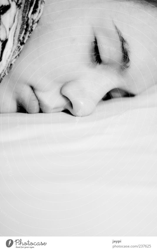 Sleeping Beauty Contentment Relaxation Calm Bed Human being Feminine Young woman Youth (Young adults) Face 1 18 - 30 years Adults Lie Black White Fatigue Peace