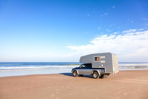 Motorhome, Pickup at the beach Vacation & Travel Adventure Far-off places Camping Summer Summer vacation Sun Beach Ocean Waves Retirement Nature Elements Sand