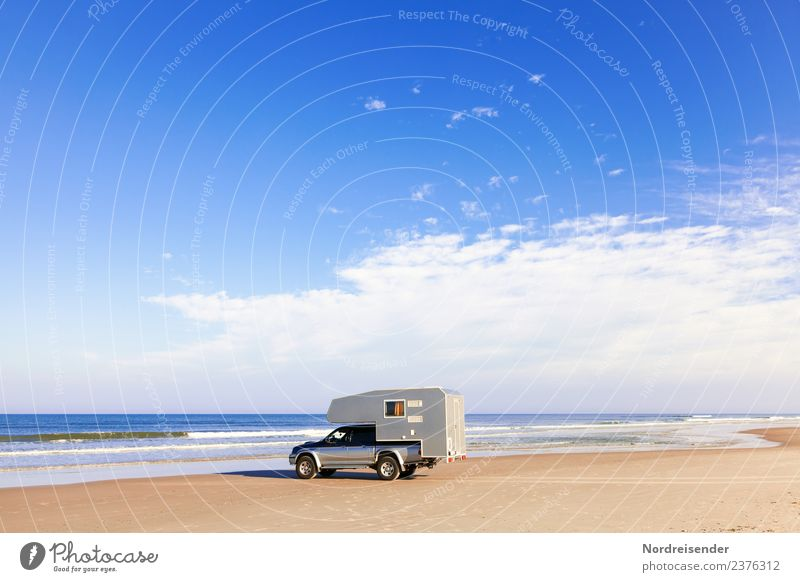 Arrive, motorhome, pickup at the beach Lifestyle Senses Vacation & Travel Freedom Summer Summer vacation Beach Ocean Waves Retirement Closing time Elements Sand