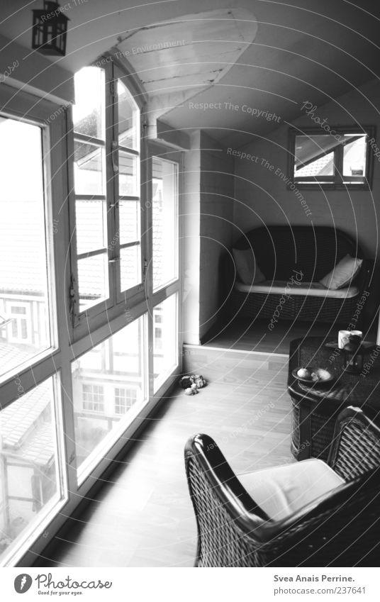 Calm Relaxation Window Flat (apartment) Table Living or residing Sofa Mirror Hallway Armchair Wooden floor Pane Homesickness Light Black & white photo Cane chair