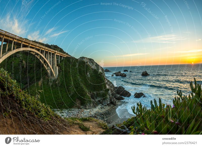 Highway One III California Bridge Art deco Twilight Ocean Pacific Ocean Coast Concrete Beach Car Transport Night Vacation & Travel road trip Street Cliff Sun