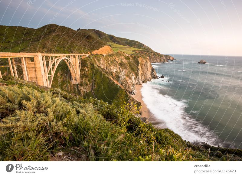 Highway One II California Bridge Art deco Twilight Ocean Pacific Ocean Coast Concrete Beach Car Transport Evening Vacation & Travel road trip Street Cliff