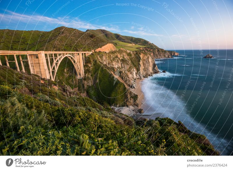 Highway One California Bridge Art deco Twilight Ocean Pacific Ocean Coast Concrete Beach Car Transport Night Vacation & Travel road trip Street Cliff