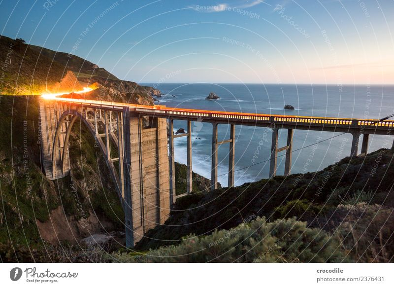 Bixby Creek Bridge Highway One California Art deco Twilight Ocean Pacific Ocean Coast Concrete Beach Car Transport Night Tracer path Vacation & Travel road trip