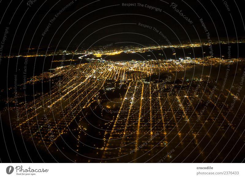 # 753 San Francisco Airplane Aerial photograph Night Skyline Light Park Street City California Late flight Oakland Bay Bridge Vantage point Panorama (View)