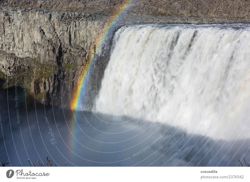 # 757 Gullfoss River Waterfall Rainbow Sun Cliff elemental Power Force Large Threat Alarming Impressive Natural phenomenon Might Colour photo Fog Haze