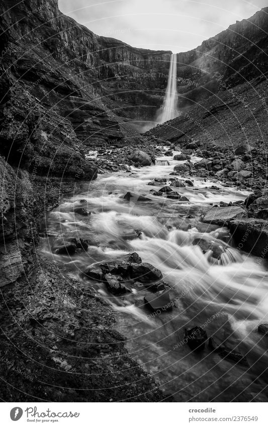 Hengifoss II Waterfall Iceland River Canyon Rock Long exposure White crest Damp Black & white photo Dark Mystic Cliff Volcanic Volcanic island