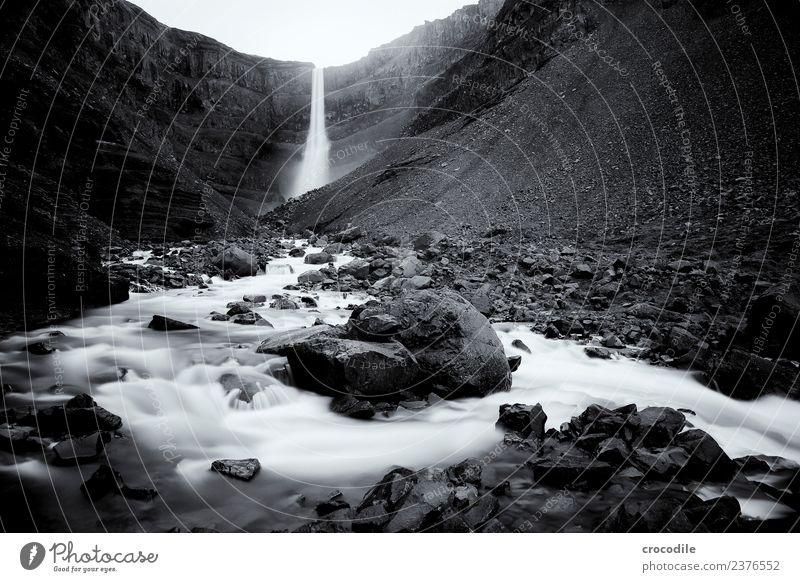 Hengifoss I Waterfall Iceland River Canyon Rock Long exposure White crest Damp Black & white photo Dark Mystic Cliff volcanic ash Volcanic Volcanic island